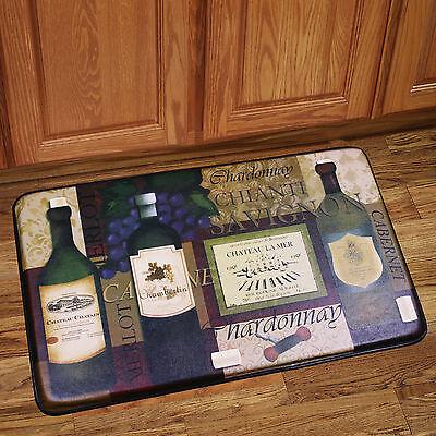 "Memory Foam Anti Fatigue Chef Design Kitchen Floor Mat Rug 30"" x 18"" French Wine"
