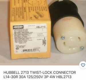 HUBBELL 2713 TWIST-LOCK CONNECTOR L14-30R 30A 125/250V 3P 4W HBL2713