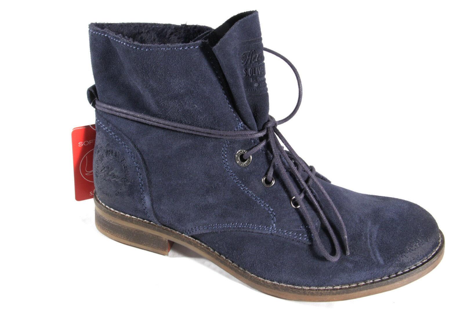 S.Oliver  Stiefel, Stiefelette, Boots, Velourleder,  S.Oliver blau, gefüttert NEU 53ba27