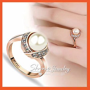 18K-Rose-GOLD-GF-R70-PEARL-SIMULATED-DIAMOND-BRIDAL-ANNIVERSARY-LADY-SOLID-RING