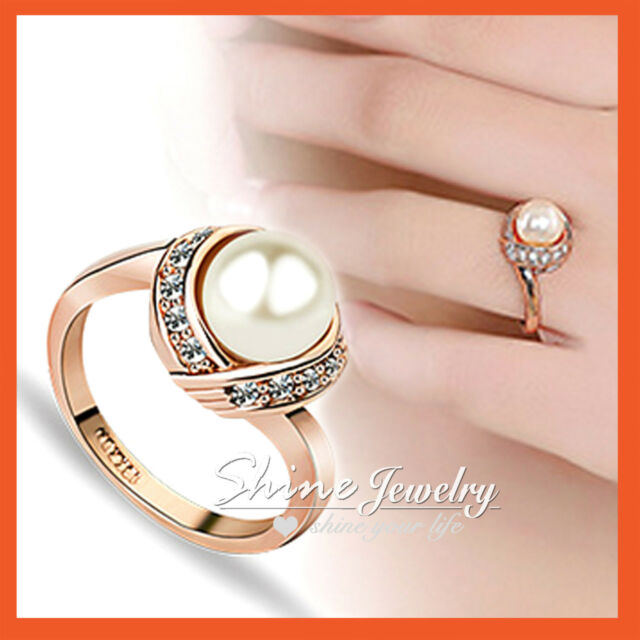 18K Rose GOLD GF R70 PEARL SIMULATED DIAMOND BRIDAL ANNIVERSARY LADY SOLID RING