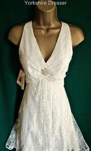 New-MONSOON-UK-8-10-Ivory-Lace-GRACIE-Halter-Bridal-Short-Wedding-Cocktail-Dress