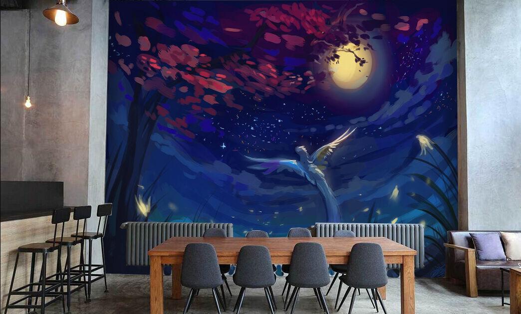 3D Arbre Lune 09 Photo Papier Peint en Autocollant Murale Plafond Chambre Art
