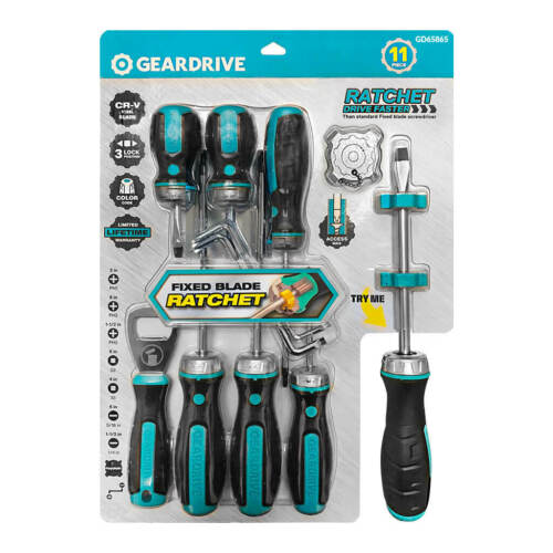 Geardrive GD65865 Ratcheting Fixed Blade Screwdriver Set 11-Piece