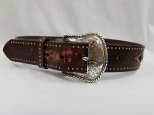 Nocona-Belt-Womens-28-Studded-Bling-Brown-Genuine-Leather-Belt-Cowgirl-N3431502