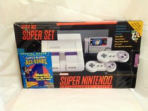 Super-Nintendo-SNES-Console-System-Box-ONLY-Mario-All-Stars-Version