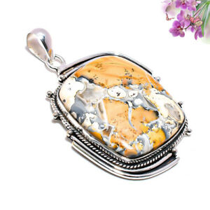 Maligano Jasper Gemstone 925 Stamped Ethnic Pendant Jewelry 2.17 Inch 6371