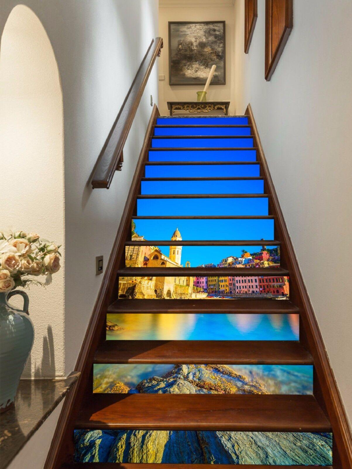 3D Sea Farbe City 5 Stair Risers Decoration Photo Mural Vinyl Decal Wallpaper UK