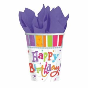 8pk-Radiant-Happy-Birthday-Paper-Cup-266ml-Multi-Colour-Party-Tableware