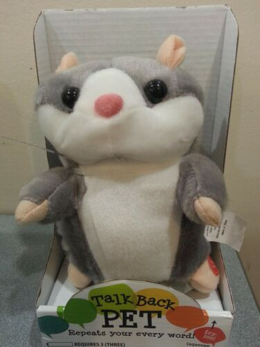 """NIB 6/"""" /""""TALK BACK PET/"""" Hamster Grey Repeats Your Every Word Ages 6"""