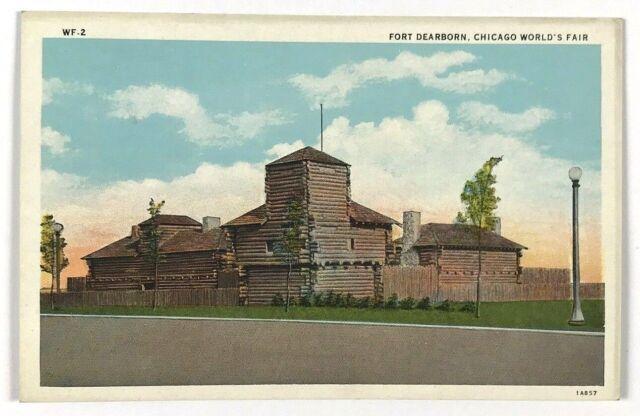 1933 Fort Dearborn Chicago World's Fair Century Of Progress Vintage Postcard