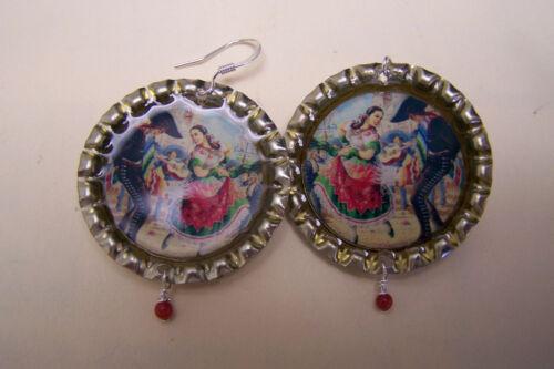 Mexican Dancers Calendar Print Bottlecap Earrings with Dangles