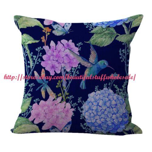 US SELLER-4pcs decor pillows cheap cushion covers hummingbird flower