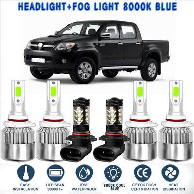 6X 8000K ICE Blue COB LED Headlight Hi//Low+Fog Light Kit For Toyota Tacoma 16-18