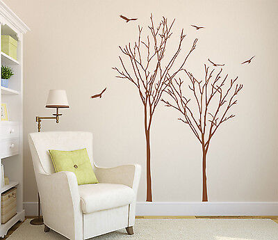 2x Trees and Birds Art Vinyl Wall Sticker, DIY Wall Transfers Decal HIGH QUALITY