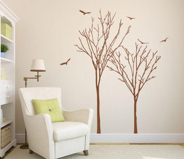 2x Trees and Birds Art Vinyl Wall Sticker, DIY Wall Transfers Decal HIGH QUALITY