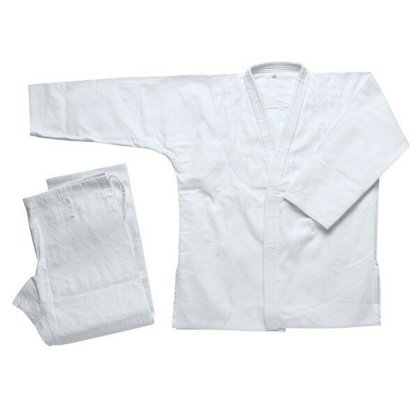 New JiuJitsu Uniform  Set WHITE BJJ Gi Single Weave 100% Cotton for Adult&Kids  cheap in high quality