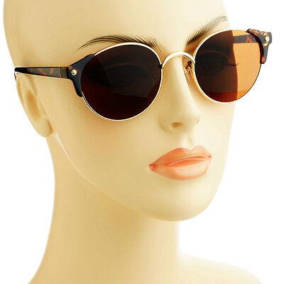 Elegant Retro Vintage Style Tip Corners Metal Circle Round Sunglasses Tortoise