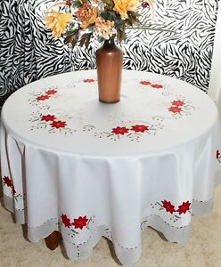 Image Is Loading Vintage Christmas Embroidered Poinsettia Tablecloth  Oblong Round W