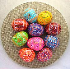 Pysanka, 10 Ukrainian Wooden Easter Eggs, Colorful, SMALL