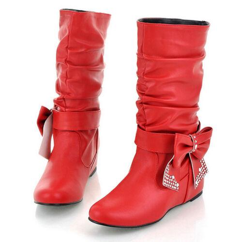 Damen Stiefel Keilabsat Boots Lederoptik Stiefeletten Schuhe Schleife Gr 30-48