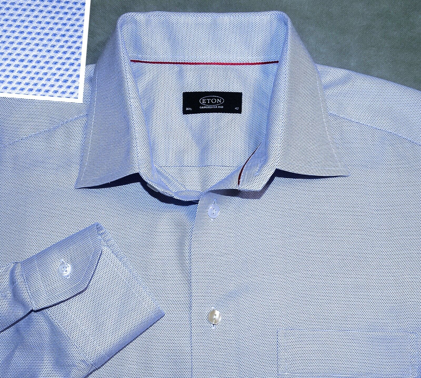 FINEST 16 1 2 42 36 ETON blueE BIRDSEYE COTTON MENS SHIRT