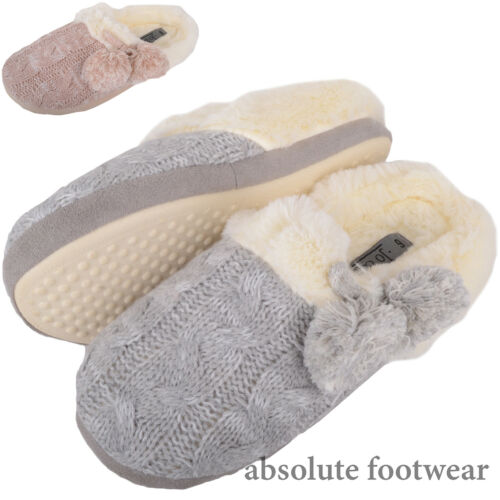 Womens Knitted Style Slippers Mules Ladies Shoes with Soft Wearm Faux Fur