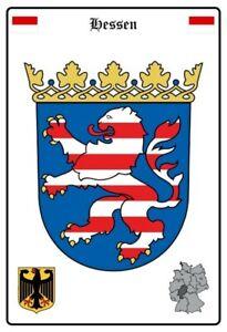 Hesse-Allemagne-Armoiries-Pancarte-en-Tole-Signe-Metal-Voute-Etain-20-X-30-CM