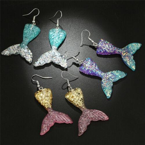 Handgemachte Tropfen Ohrhänger Ohrringe Meerjungfrau Fischschwanz OhrsteckeRSDE