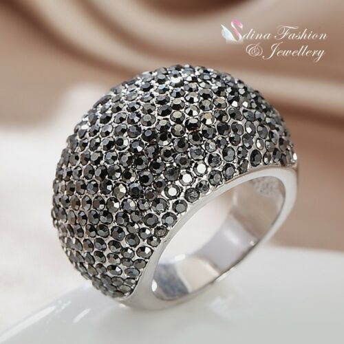 18K White Gold Plated AAA Grade CZ Studded Band Stylish Black Cocktail Ring