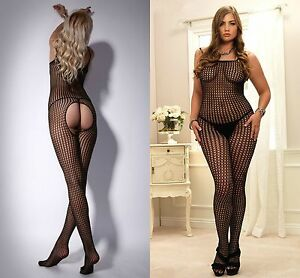 4b5d6a416 Image is loading Ladies-Lingerie-Bodystocking-Bodysuits-Lace -Sheer-Opaque-Fishnet-