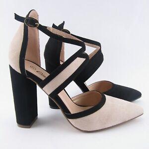 Sandali-donna-decolte-decollete-bicolor-nero-beige-tacco-largo-10-scarpe