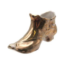 Old-Estate-Find-Vintage-Collectible-Gold-Tone-Distressed-Porcelain-Boot-Shoe