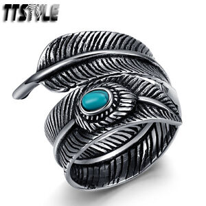 Quality-TTstyle-316L-S-Steel-Feather-Cuff-Band-Ring-Size-6-12