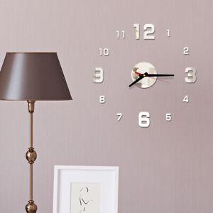 Am-3D-Acryl-Spiegel-Effekt-Wanduhr-DIY-Sticker-Aufkleber-Schlafzimmer-Heim-Dec