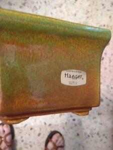 Vintage-Haeger-Pottery-Drip-Glaze-Planter-6-034-Hexagon-California-Pottery-c-1960s