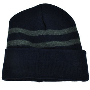 a840bd7786d9e Navy Blue Cuffled Long Knit Beanie Toque Skully Winter Blank Solid ...