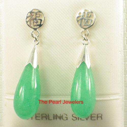 Solid sterling silver 925 Oriental Bonne Chance Vert Jade Dangle Stud Boucles d/'oreilles TPJ