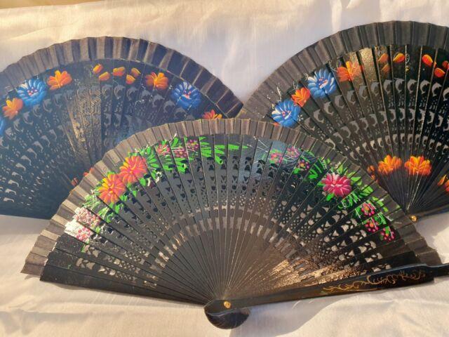 Joblot 12 Pcs Black Wooden Hand Painted Spanish Folding Hand Fan Wholesale D For Sale Ebay