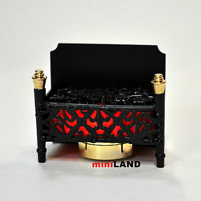 Fire Grate LED Fireplace Dollhouse Glowing Embers light miniature constant red3G