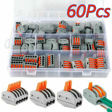 60pcs For Wago Electrical Connectors Wire Block Clamp Terminal Cable 235 Ways