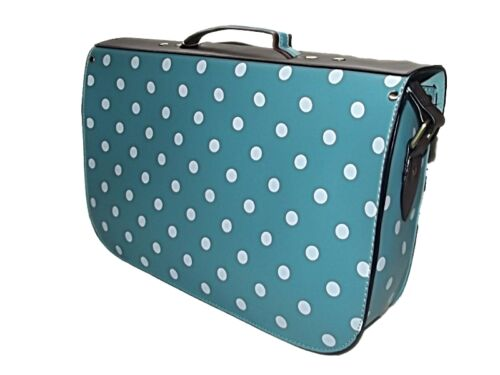 FAB NEW TRADITIONAL FAUX LEATHER LARGE POLKA DOT SATCHEL BAG 6 COLOURS RED PINK