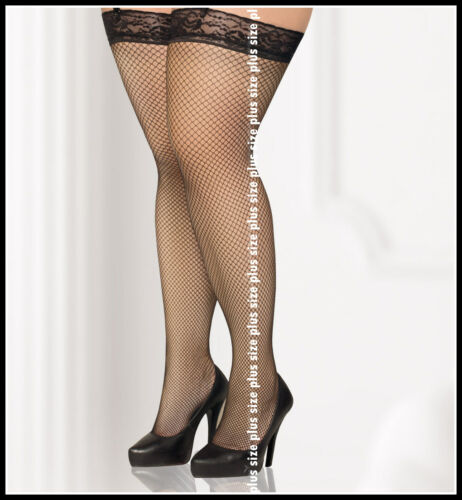 Lace Top Fishnet Hold-Ups Stockings Many Colours 2M 3L 4X 5XL 6XL 7XL plus size