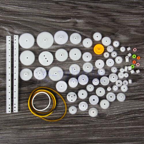 75Pcs Kunststoff Zahnräder Kits Flaschenzug Schaft Auto LKW Spielzeug Teile GE