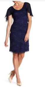 NWT-MARINA-Tiered-Lace-Cape-Sheath-Dress-Lined-Navy-Size-6