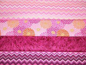 4-FQ-Bundle-PINK-amp-FUCHSIA-Prints-100-Cotton-Quilt-Craft-Fabric-Fat-Quarters
