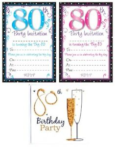 Image Is Loading AGE 80 80th BIRTHDAY Party Invitations Amp Envelopes