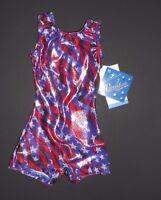 Motion Wear Gymnastic Biketard Shorty Unitard Patriotic Purple Red Silver