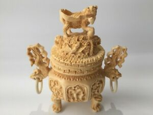 Japanese-Resin-Incense-Burner-Koro-Vtg-Lidded-Stand-Lion-Dragon-Ring-n112