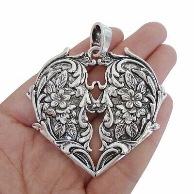 Antique 35mm jewellery making Tibetan silver flower shape pendant connector
